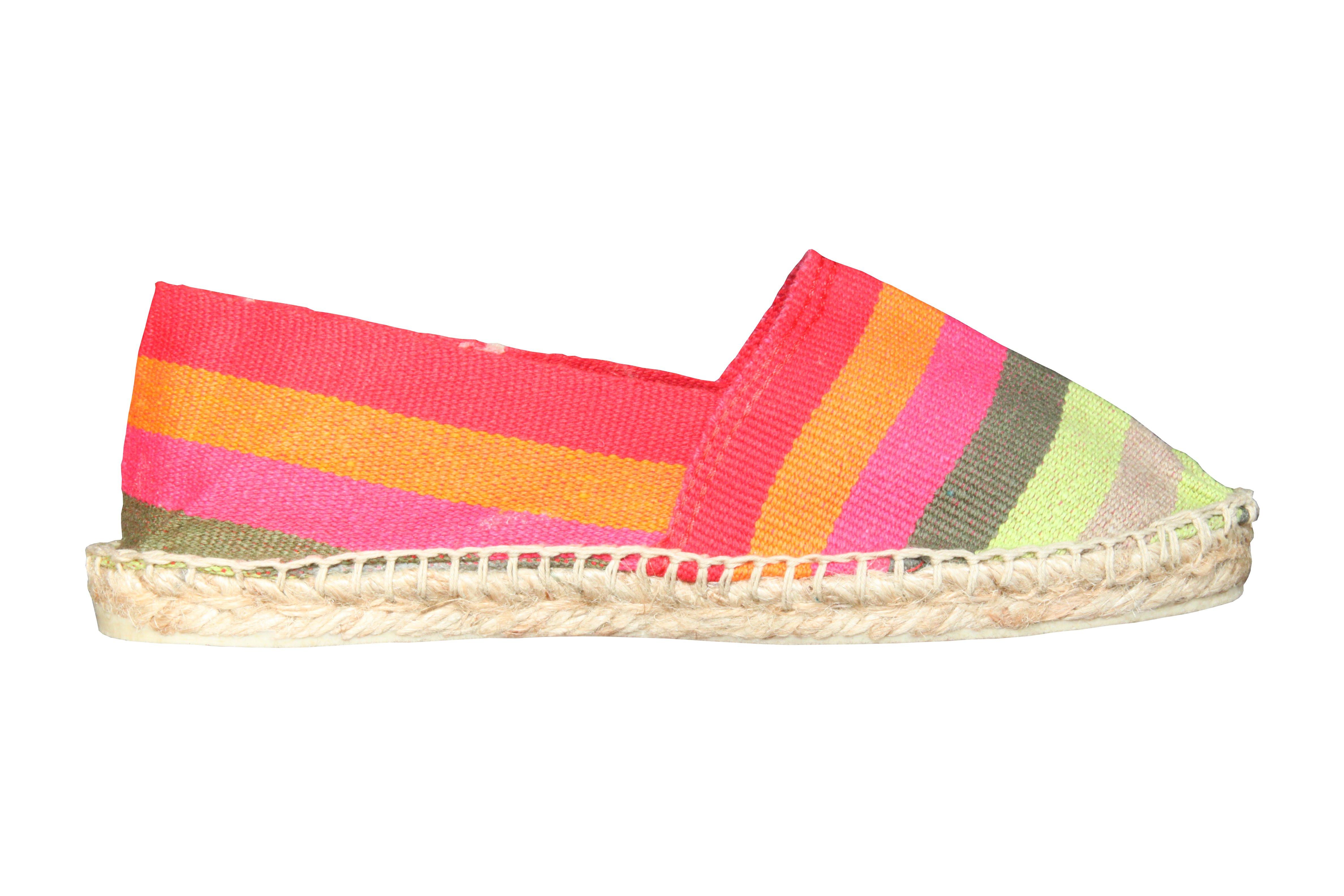 Espadrilles à rayures larges multicolores