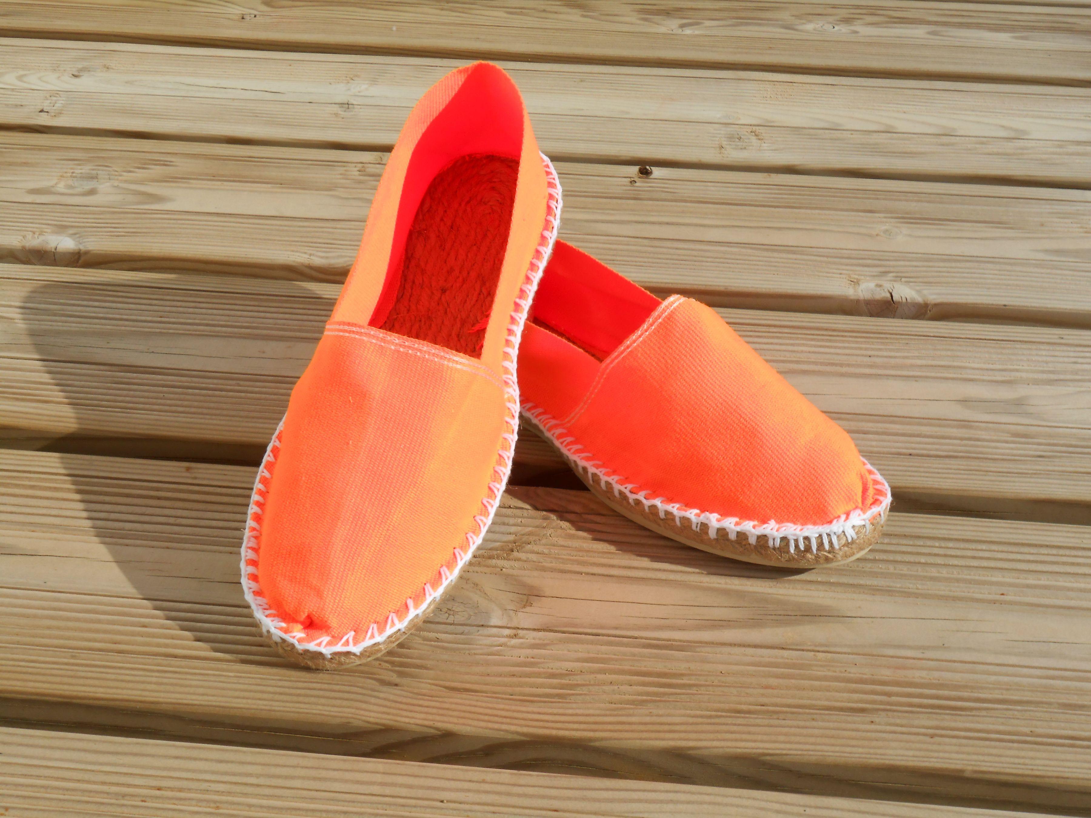 Espadrilles orange fluo taille 42