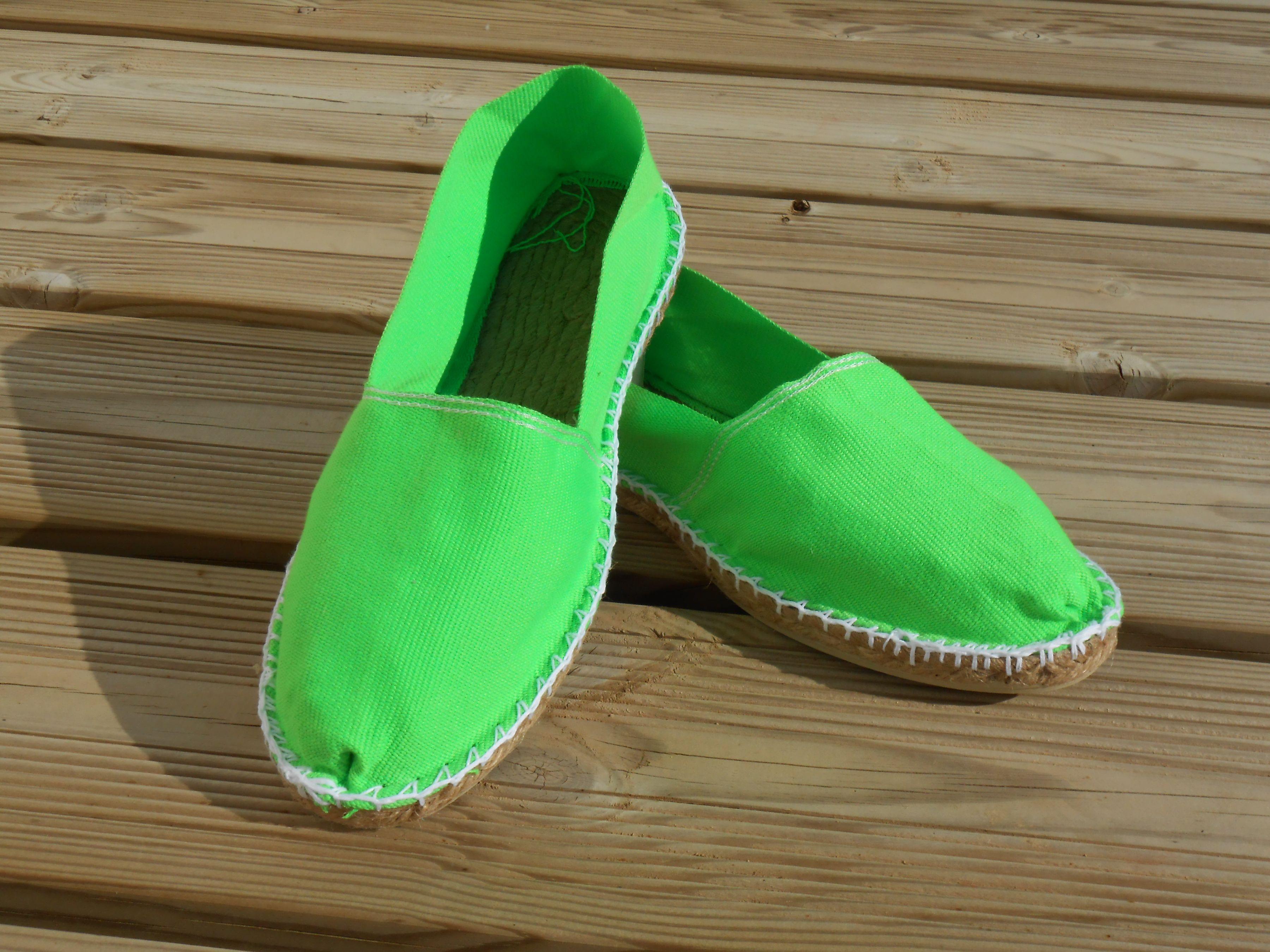 Espadrilles vert fluo taille 44